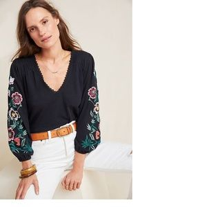 Anthropologie Helene Embroidered Peasant Blouse